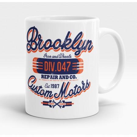 Mug blanc, Brooklyn, Custom Motors
