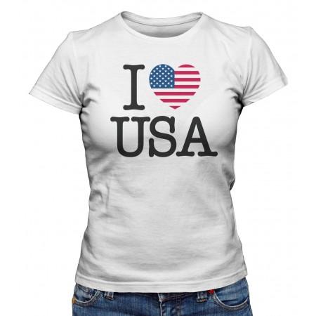 T-shirt Femme I Love USA
