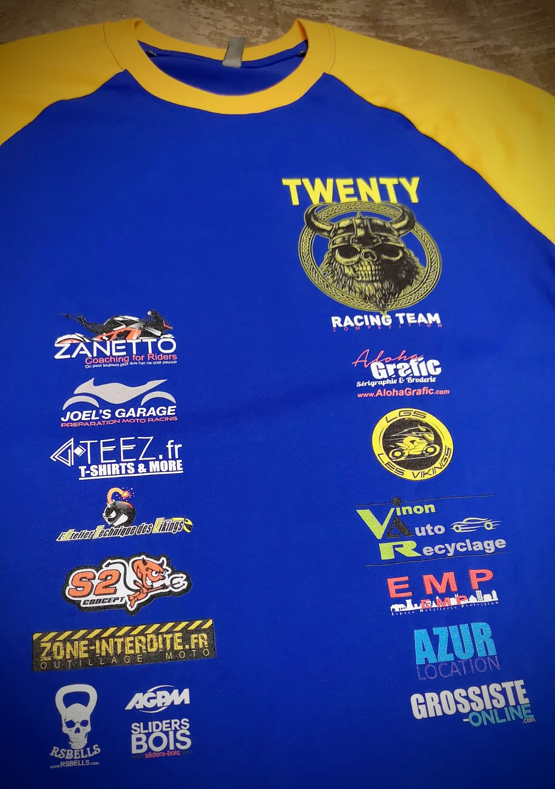 team twenty racing serigraphie tee shirt