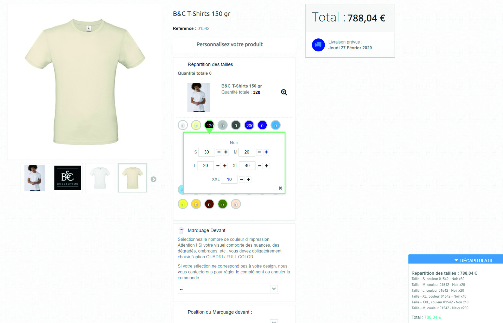 Grossiste Tee Shirt articles personnalisé selection taille